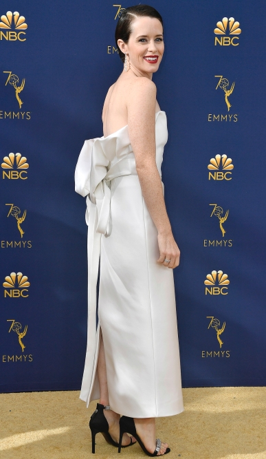 LOS ANGELES, CA - SEPTEMBER 17: (EDITORS NOTE: Retransmission with alternate crop.) Claire Foy attends the 70th Emmy Awards at Microsoft Theater on September 17, 2018 in Los Angeles, California. (Photo by Frazer Harrison/Getty Images)