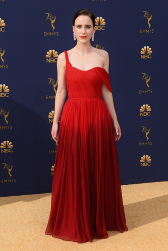 Mandatory Credit: Photo by David Fisher/REX/Shutterstock (9883789hy) Rachel Brosnahan 70th Primetime Emmy Awards, Arrivals, Los Angeles, USA - 17 Sep 2018